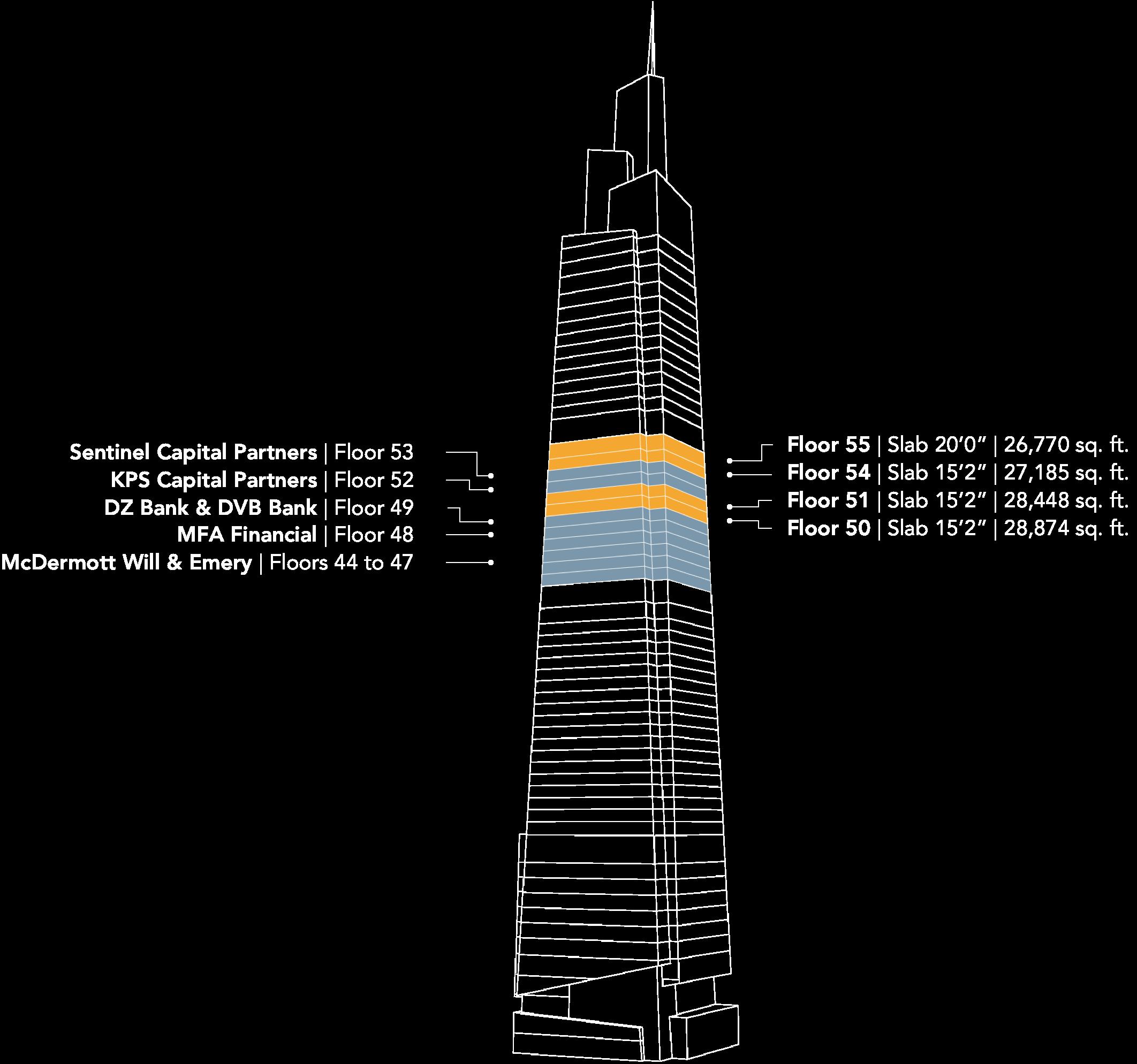 "Floors 44to 55, Tower Floors Slab 15'2"", 26770 to 29303 square feet each"